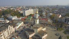 Historyczny centrum Ivano-Frankivsk miasto, Ukraina, z urząd miasta budynkiem zbiory wideo