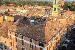 Historyczny centrum Spilamberto, Włochy Odgórny widok od fortecy Obrazy Stock