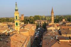 Historyczny centrum Spilamberto, Włochy Odgórny widok od fortecy Zdjęcia Royalty Free