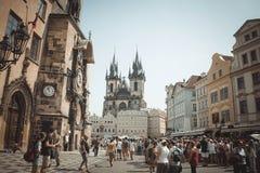 Historyczny centrum Złoty Praga, urzędu miasta kwadrat zdjęcia stock