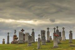 Historyczny cmentarz w Luxemburg Wisconsin Zdjęcia Stock