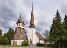 Historyczny kościół Tornio w Fińskim Lapland. Obrazy Royalty Free