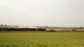 Historyczny kontrpara pociąg z bielu dymem jedzie w wsi zbiory