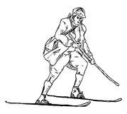 Historyczny narciarstwo Obrazy Royalty Free