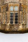 Historyczny okno przy Rousham domem w śniegu Obraz Royalty Free