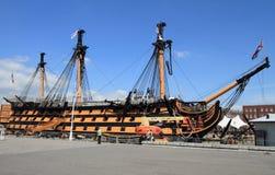 Historyczny okręt wojenny przy Portsmouth Obraz Royalty Free