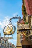 Historyczny pub podpisuje wewnątrz MÃ ¼ nster, Niemcy Zdjęcie Royalty Free