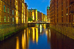 Historyczny Speicherstadt w Hamburg (Magazynowy okręg) Obraz Royalty Free