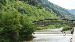 Historyczny tidel most nad rzeką w lesie i dolinie zbiory
