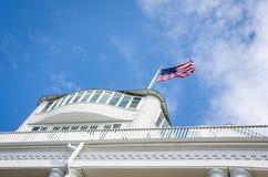 Historyczny Uroczysty hotel na Mackinac wyspie w Północnym Michigan Zdjęcia Stock