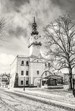 Historyczny urząd miasta w głównym placu, Kezmarok, Sistani, bezbarwny Fotografia Royalty Free