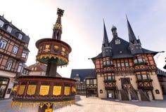Historyczny urzędu miasta wernigerode Germany zdjęcie royalty free