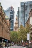 Historyczny urzędu miasta wierza widzieć od Jork ulicy, Sydney Australia Obrazy Stock