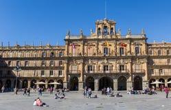 Historyczny urząd miasta na placu Mayor Salamanca Obraz Stock