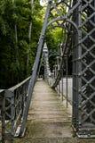 Historyczny zawieszenie most - Młyński zatoczka park, Youngstown, Ohio zdjęcia stock