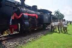 Historyk kolejowej lokomotywy parowa era walka Obraz Stock