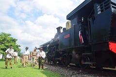 Historyk kolejowej lokomotywy parowa era walka Obraz Royalty Free