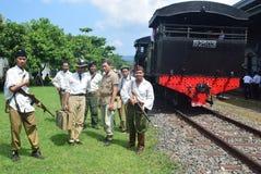 Historyk kolejowej lokomotywy parowa era walka Obrazy Royalty Free