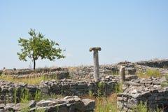 Histria堡垒,多布罗加,罗马尼亚废墟  库存照片