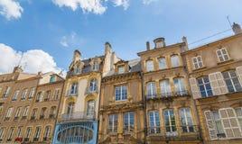 Histroric-Fassaden von Häusern in Metz auf der Mosel Frankreich Lizenzfreies Stockbild