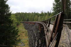 Histroric Train tressle. Rebuilt Trestle serves Trans-Canada trail Stock Image