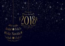 Hiszpańscy boże narodzenia i nowego roku 2018 kartka z pozdrowieniami Obrazy Stock