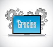 hiszpańska dzięki wiadomość na komputerowej ilustraci Zdjęcie Stock
