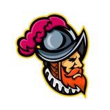 Hiszpańska konkwistador głowy maskotka Obraz Royalty Free