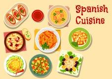 Hiszpańska kuchnia lunchu ikona dla karmowego projekta royalty ilustracja