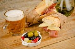 Hiszpański baleron i serowa kanapka Obrazy Stock