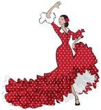 Hiszpański Cygański Flamenco tancerz Ilustracja Wektor