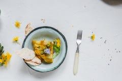 Hiszpański kartoflany omelette tortilla na białym tle, copyspace Odgórny widok fotografia royalty free
