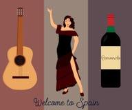 Hiszpański kulturalny plakat lub pocztówka royalty ilustracja