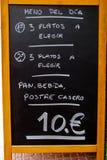 Hiszpański menu Zdjęcia Stock