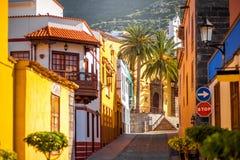 Hiszpański stary miasteczko na Tenerife wyspie obraz stock