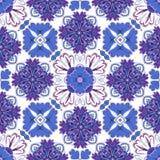 Hiszpański tradycyjny ornament, Śródziemnomorski bezszwowy wzór, dachówkowy projekt, wektorowa ilustracja ilustracja wektor