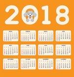 Hiszpańszczyzna dzieciaków kalendarz dla ściany lub biurka roku 2018 Zdjęcia Stock