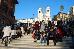Hiszpańszczyzna kroki, hiszpańszczyzna kroki, tłum, ludzie, turystyka, ulica Obraz Royalty Free