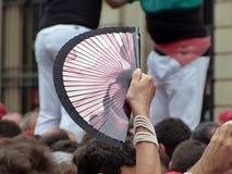 Hiszpańszczyzny fan w tłumu Obrazy Royalty Free