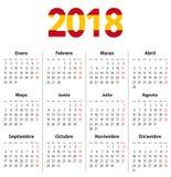 Hiszpańszczyzny Porządkują dla 2018 i zaznaczają kolory na 2018 cyfrach Fotografia Stock