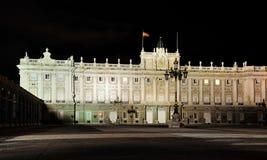 Hiszpańszczyzny Royal Palace nocą, Madryt fotografia royalty free