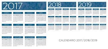 Hiszpańszczyzny textured błękita kalendarzowego wektor Fotografia Stock