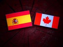 Hiszpańszczyzny zaznaczają z kanadyjczyk flaga na drzewnym fiszorku odizolowywającym obraz royalty free