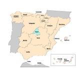 Hiszpańska capitals mapa Zdjęcia Stock