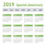 2019 hiszpańszczyzn amerykanina kalendarz obrazy royalty free