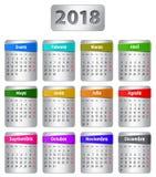 2018 hiszpańszczyzn kalendarz Zdjęcia Stock