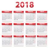 2018 hiszpańszczyzn kalendarz Obrazy Stock