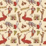 Hiszpania bezszwowy wielostrzałowy wzór ilustracja wektor