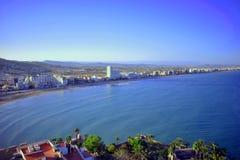 Hiszpania, Castellon, Peñiscola, morze śródziemnomorskie, niekończący się morze, obraz stock