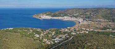 Hiszpania Costa Brava anteny podpalana i grodzka panorama Zdjęcia Royalty Free